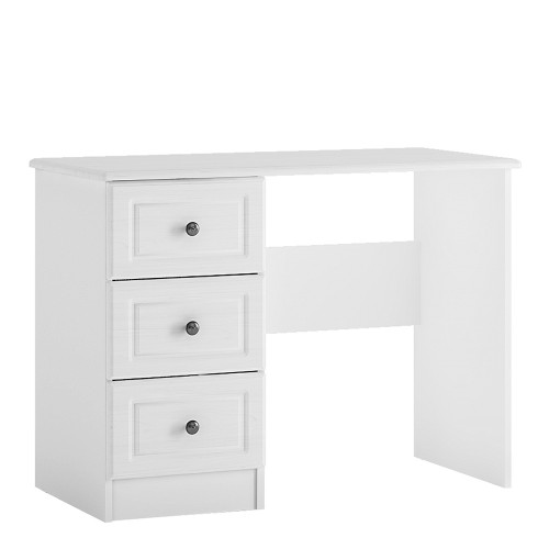 Hampshire 3 drawer dressing table in white textured MDF and white melamine